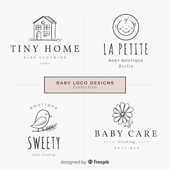 Mooie hand getrokken baby logo collectio