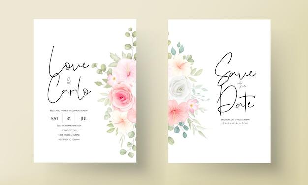Mooie hand getrokken bloemen bruiloft uitnodiging kaartsjabloon