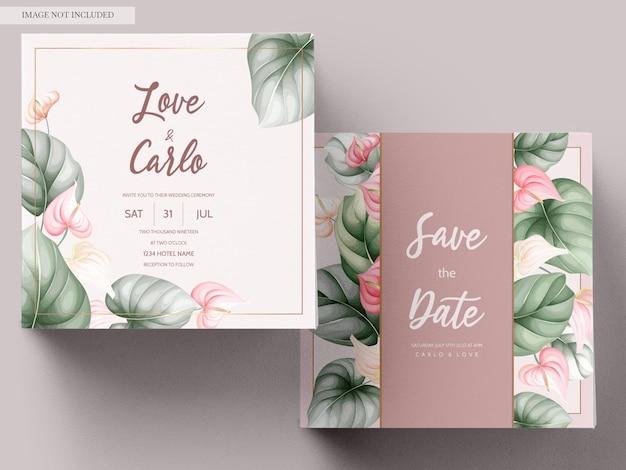 Mooie hand getrokken bloemen bruiloft uitnodigingskaart