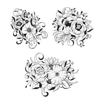 Mooie hand getrokken boeket bloemen