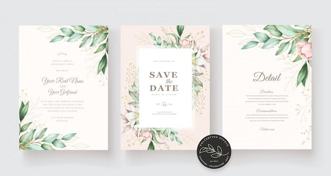 Mooie hand getrokken bruiloft kaartsjabloon