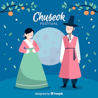 Mooie hand getrokken chuseok achtergrond