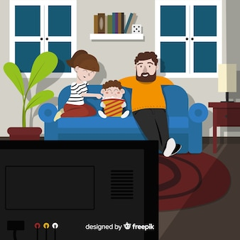 Mooie hand getrokken familie thuis