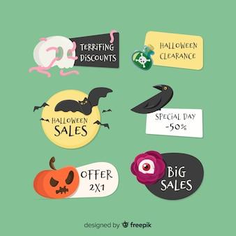 Mooie hand getrokken halloween-verkoopetiketten