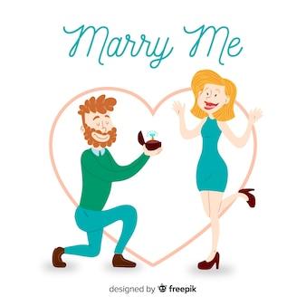 Mooie hand getrokken huwelijksaanzoek concept