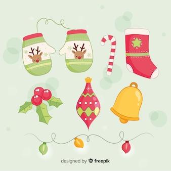 Mooie hand getrokken kerst element collectie