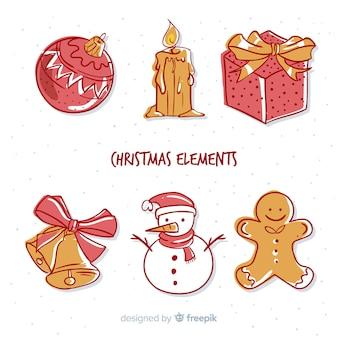 Mooie hand getrokken kerst elementen collectie Gratis Vector