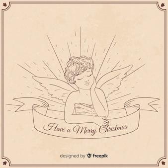 Mooie hand getrokken kerst engel