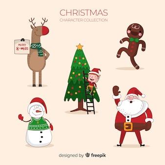 Mooie hand getrokken kerst karakter collectie