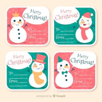 Mooie hand getrokken kerst label collectie