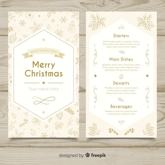 Mooie hand getrokken kerst menusjabloon