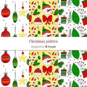 Mooie hand getrokken kerst patroon collectie