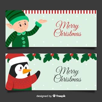 Mooie hand getrokken kerstmisbanners