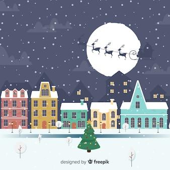 Mooie hand getrokken kerststad