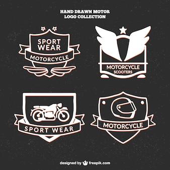 Mooie hand getrokken logo's voor motorclub
