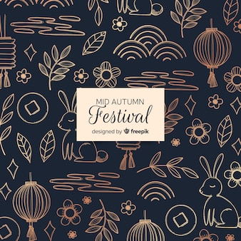 Mooie hand getrokken medio herfst festival samenstelling