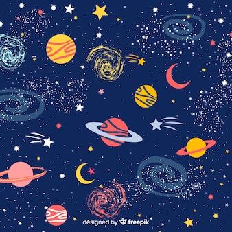 Mooie hand getrokken melkwegachtergrond