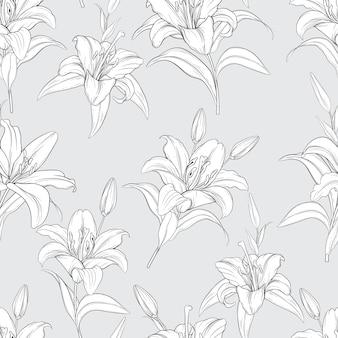 Mooie hand getrokken naadloze patroon lelie bloemen