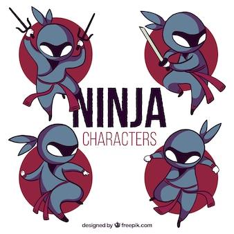 Mooie hand getrokken ninja karakterverzameling