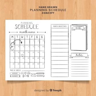 Mooie hand getrokken planning planning concept