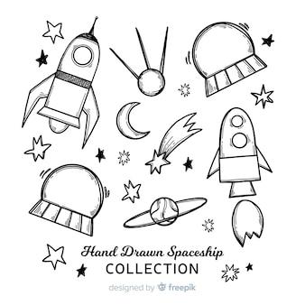 Mooie hand getrokken ruimteschipinzameling