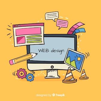 Mooie hand getrokken web ontwerpconcept