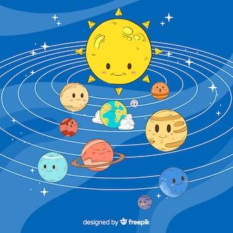 Mooie hand getrokken zonnestelsel samenstelling