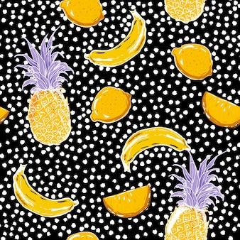 Mooie hand schets zomer fruit citroen