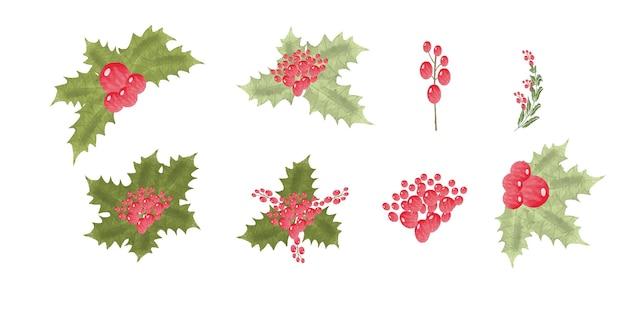 Mooie hand tekenen aquarel kerst element collectie in plat design
