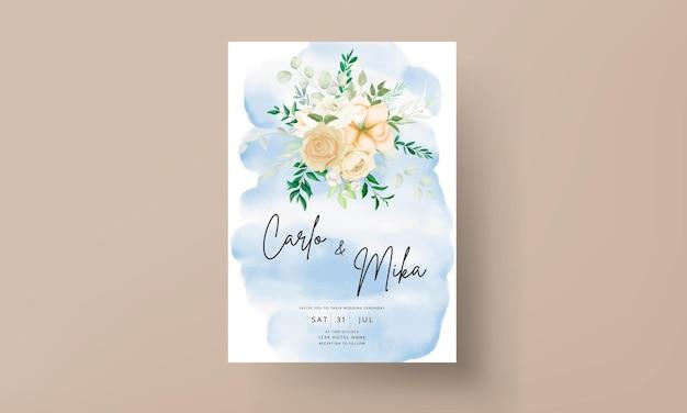 Mooie hand tekenen bloemen bruiloft uitnodiging set sjabloon