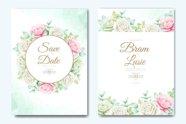 Mooie hand tekenen bruiloft uitnodiging bloemdessin