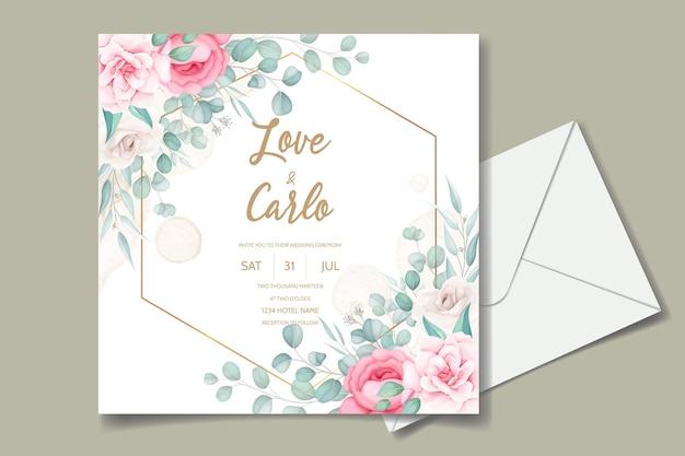 Mooie hand tekenen bruiloft uitnodiging kastanjebruin bloemdessin