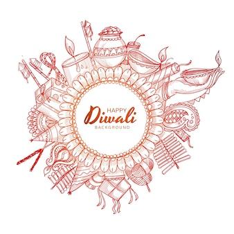 Mooie hand tekenen decoratieve diwali viering schets