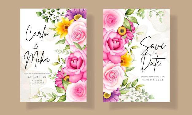 Mooie hand tekenen huwelijksuitnodiging aquarel bloemdessin