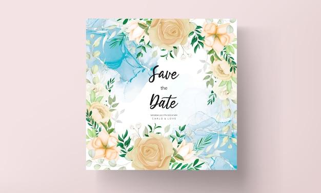 Mooie hand tekenen zachte bloemen bruiloft uitnodiging set sjabloon
