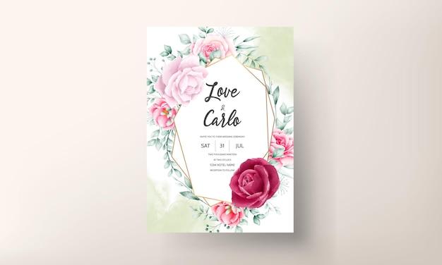 Mooie handgetekende aquarel bloem bruiloft uitnodigingskaart