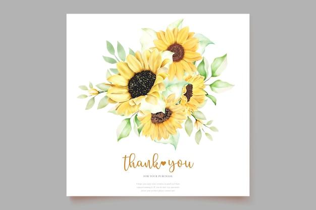 Mooie handgetekende aquarel zonnebloem uitnodigingskaarten set