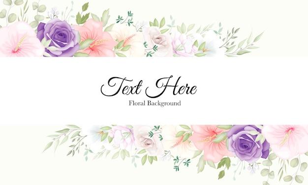 Mooie handgetekende bloemensjabloon met delicate bloemen