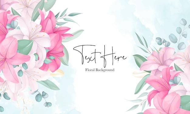 Mooie handgetekende lelie bloem achtergrond
