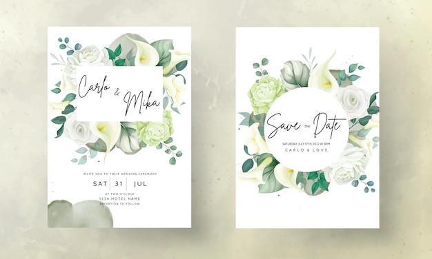Mooie handgetekende roos en calla lelie bloem bruiloft uitnodigingskaart