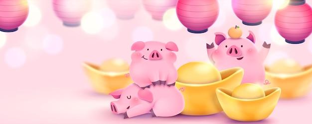 Mooie handgetekende roze piggy banner met goudstaven en lantaarns