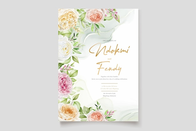 Mooie handgetekende rozen bruiloft uitnodigingskaarten set