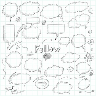 Mooie handgetekende schets tekstballon decorontwerp
