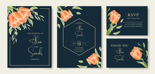 Mooie handgetekende tulp aquarel bloemen bruiloft kaart sjabloon premium vector