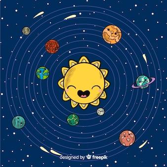 Mooie handgetekende zonnestelsel-compositio