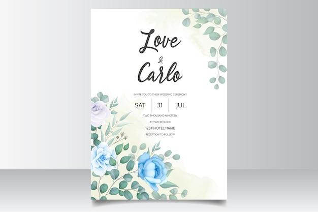 Mooie handtekening bruiloft uitnodiging blauw bloemdessin