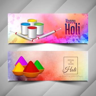 Mooie happy holi-banners instellen