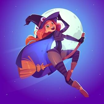 Mooie heks, roodharige vrouw in griezelige hoed vliegen op een bezem in de nachtelijke hemel