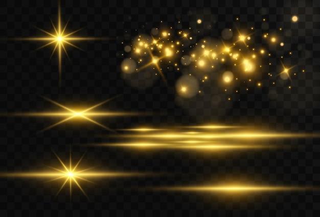 Mooie heldere horizontale flare. gouden schittering, lichte strepen
