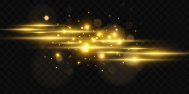 Mooie heldere horizontale flare. gouden schittering op een transparante achtergrond. lichte strepen op een donkere achtergrond. gele stralen.